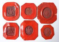 lot de 6 sceau cachet de cire STERN Couronne armoiries blason 19e siècle (L)