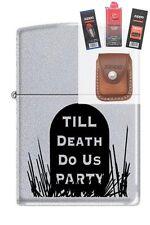Zippo 3191 till death do us party Lighter + FUEL FLINT WICK POUCH GIFT SET