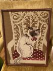 Fabulous Large Antique Vintage Framed Needlepoint Art Cat In Chair