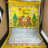 Vintage Cloth Linen Calendar 1982 Bless This House