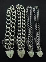 STERLING SILVER CHARM BRACELET CURB CHAIN LINK HEART PADLOCK SAFETY CHAIN CHARMS