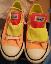 Girls-Size-1-Shoes-Tangerine-Pink-Double-Tongue-White-Laces-Converse-All-Star