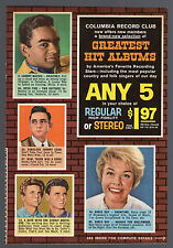 1961 Columbia Record Club Promo/Ad/Johnny Cash/Mathis/Everly Brothers/Doris Day