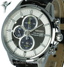 Nouveau seiko solaire chrono alarme bronze & cadran argent en cuir à sangle et boucle SSC259P1