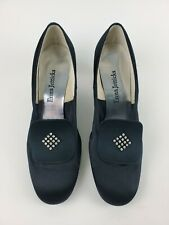 Vintage Enna Jetticks Black Satin Shoes - Rhinestone Accent - Size 9 1/2 - Rare!