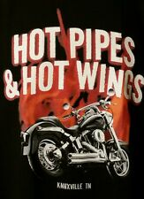 Knoxville T-Shirt Hot Pipes and Hot Wings Black SZ L Motorcycles Champion Mens