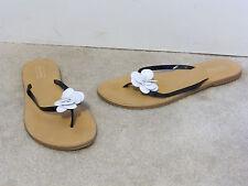 Merona Black and White Flip Flops Thong Sandals Size 7 Fancy Faux Patent EUC