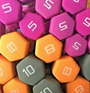 CAP Neoprene Hex Dumbbell Weights Pairs 💥CHOOSE💥 5 8 10 12 15 LBS - NEW 💪