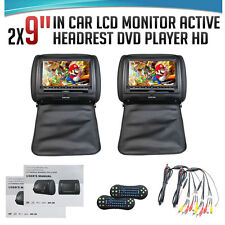 "2x HDMI Black 9"" HD LCD Active Car Pillow Video Headrest Monitor DVD Player Game"