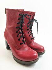 Dr Martens Darcie Red Floral Embossed Leather Platform Lace Up Heels Sz 9 US