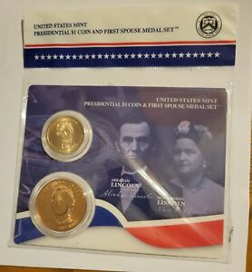 2010 Abraham Lincoln $1 Presidential Coin and First Spouse Medal Sealed