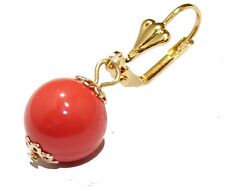 Pink Coral 12mm Leverback Dangle Earring 18k Gold Plated French Clasp