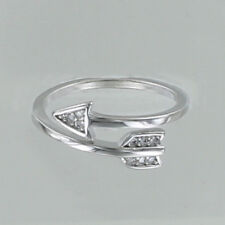 Arrow Adjustable Ring - Stainless Steel Crystal Clear Rhinestone Zinc Alloy NEW