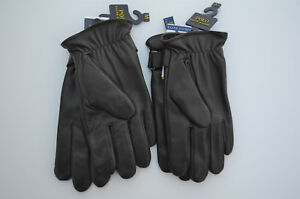 Men's POLO Ralph Lauren Leather Gloves ONE TOUCH Size S, M Black / Brown