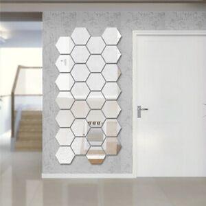 12PCS Hexagon 3D Honeycomb Mirror Wall Sticker Vinyl Decal DIY Home Art Decor F