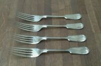 """VINTAGE CUTLERY - SET OF 4 FORKS - FIDDLE PATTERN - SILVER PLATED = SIZE 7.5"""""""