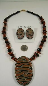 Lee Sands Saw Dust Tiger Print NK w Amber Nuggets & ER set Made in Hawaii