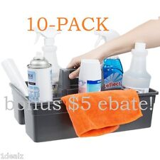 10PK RUBBER Janitorial MAID 3 Compartment Gray Janitor Caddy 16