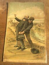 Antique Original Tom Merry Political Cartoon Lithograph Men of Manchester Canals