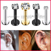 Titanium Gem Labret Monroe Lip Tragus Nose Ear Earrings Piercing Ring Bar Stud