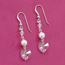 Sterling Silver Earrings w Swarovski Elements White Pearl & Clear Crystal Heart
