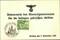 RARE WW2 NAZI-OCCUPIED POLAND FDC! HANS FRANK TAKES OFFICE AS HEAD OF OCCUPATION