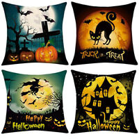 4Pcs/Set Halloween Pillow Case Scary Pumpkin Witch Pattern Cushion Linen Cover