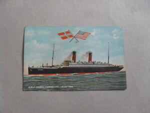 POSTCARD -  RMS CARONIA - CUNARD LINE - STEAM SHIP - BOAT - FLAGS - TROOP SHIP