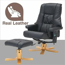 Massage Leisure Recliner Chair Swivel Real Leather Armchair w/Ottoman in Black