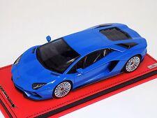 1/18 MR Collection Lamborghini Aventador S Blue Nila red Leather Base