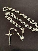 Rosary White Milk Glass Beads Catholic Religious 5 Decade Crucifix Vintage