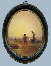 ORIGINAL 19c ROMANTIC ANTIQUE SEASCAPE WITH FIGURES WATERCOLOR PAINTING