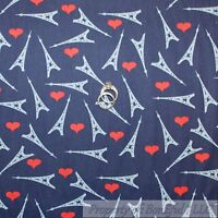 BonEful FABRIC FQ Cotton Quilt VTG Heart Love US Paris France Eiffel Tower Heart
