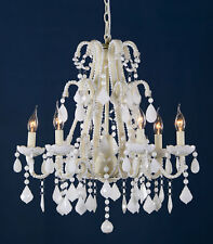DUSX Marie Therese Milky White French Glass Large 6 Arm Chandelier Ceiling Light