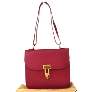 Authentic ETRO Logo Shoulder Bag Leather Red Gold-Tone Italy Vintage 04MG882