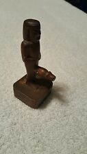 VINTAGE WOODEN,FERTILITY ,SASQUATCH, EGYPT GUY STATUE, WITH VERY BIG PENIS