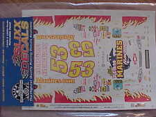 NEW 2001 HANK PARKER #53 TEAM MARINES RACING 1/24 SCALE WATER SLIDE DECAL SHEET
