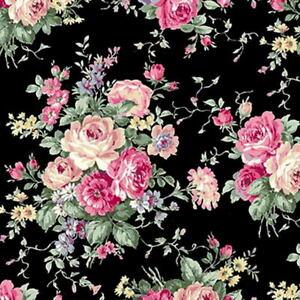 Quilt Gate Rose Garden Floral Bouquets Black Cotton Fabric RU2410-11E BTY