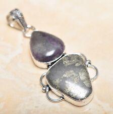 "Handmade Apache Gold Natural Gemstone 925 Sterling Silver Pendant 2.5"" #P14344"