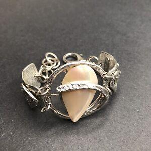 J. Jansen Abalone Shell Bracelet Silver Statement Cuff Wrap Western Boho Artist
