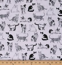 Cotton Cats Pattern Types of Cats White Fabric Print by the Yard D382.41
