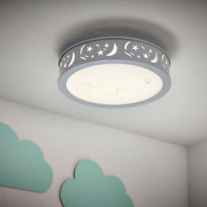 LED Deckenleuchte  Kinderzimmer Sternenhimmel Wandlampe grau 30x30 cm D117-2