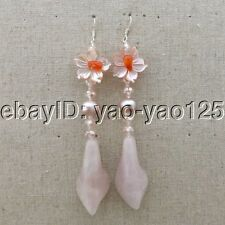 K071715 Purple Pearl Rose Quartz Flower CrystalEarrings-Silver Hook