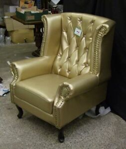 Brand New Chesterfield Highback Armchair - Gold - Diamante - Bycast Leather.