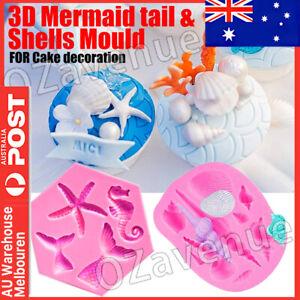 Mermaid Tail Sea Shell Silicone Cake Fondant Sugarcraft Mould Chocolate Mold AU