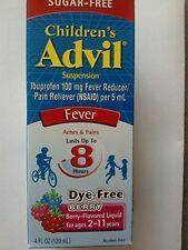 2 Pack Advil Children's Suspension Sugar-Free, Dye-Free Berry Flavor 4 Oz Each