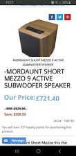MORDAUNT SHORT mezzo 9  HOME CINEMA OR STEREO SYSTEM SUBWOOFER