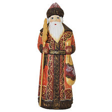 Hand Carved and Painted Artist Signed Wooden Santa in Beautiful Detailed Red Coa