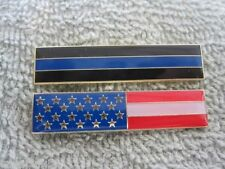 Thin Blue Line & AMERICAN FLAG ENAMEL CITATION BAR PIN TWO PC TBL BADGE SET