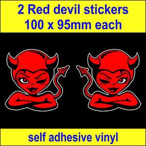 2 Red Devil fun cute bumper stickers drift euro stickerbomb jap dub car decals